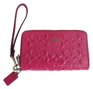 Coach Nwt Coach Pink Patent Leather Zip Around Cell Phone Wallet Wristlet
