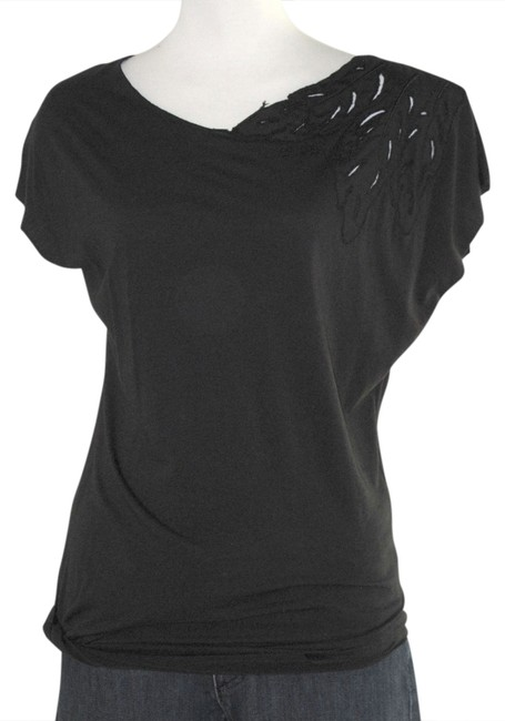 OBEY Feather Embroidered Cut Out Edgy T Shirt Black