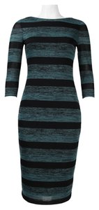 London Times 3/4 Sleeve Stripped Fitted Midi Sheath Dress