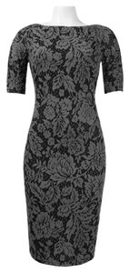 London Times Short Sleeve Floral Print Midi Sheath Dress