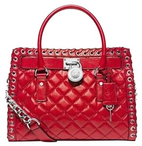 Michael Kors Hippie Grommet Hamilton Leather East West Quilted Silver Hardware Satchel in Red