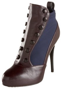 Giuseppe Zanotti Burgundy Blue Leather Fabric New Medoc Boots