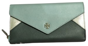 Tory Burch Tory Burch Metallic Color Block Envelope Zip Continental Wallet Fountain Turkish Gray Silver Teal Blue Saffiano Leather New