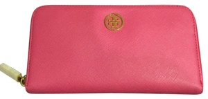 Tory Burch Tory Burch Robinson Zip Continental Wallet Tory Pink Saffiano Leather New