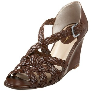 Cole Haan Fiorella Sandal Leather Brown Luggage Wedges