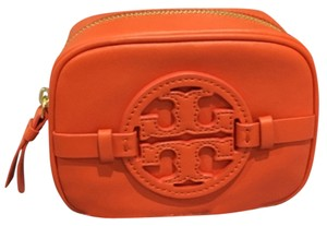 Tory Burch Tory Burch Holly Classic Cosmetic Case Leather Blood Orange New