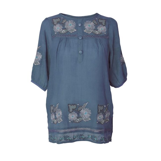 Preload https://img-static.tradesy.com/item/96128/blue-tunic-with-floral-embroidered-design-and-button-front-blouse-size-26-plus-3x-0-1-650-650.jpg