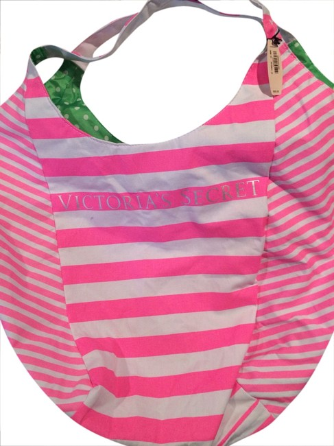 Item - Hot Pink & White Stripe/ Floral Mix Inside Lining Cotton Fabric On Outside Nylon Fabric Beach Bag