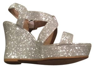 Sugar shoes Silver Sandal Strappy Glitter silver glitter Wedges