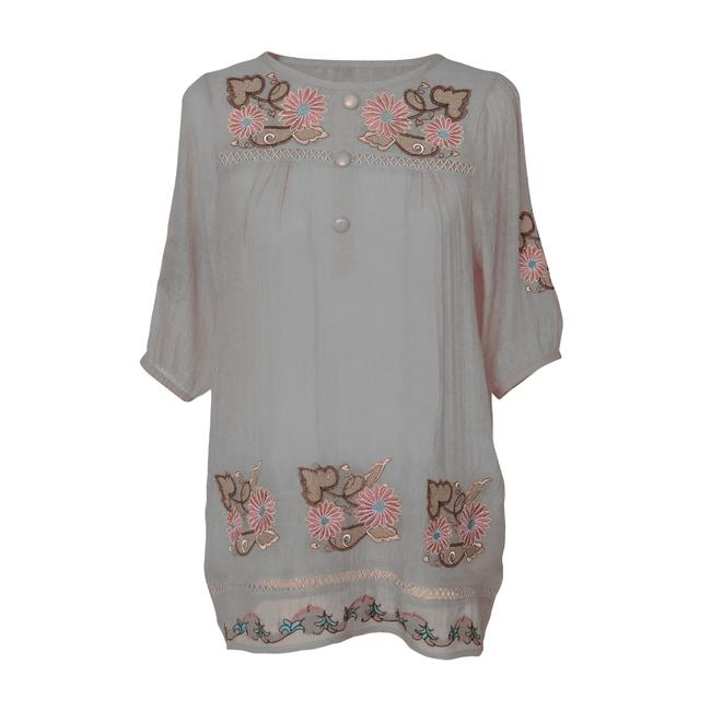 Preload https://item5.tradesy.com/images/gray-tunic-with-floral-embroidered-design-and-button-front-blouse-size-12-l-96129-0-1.jpg?width=400&height=650