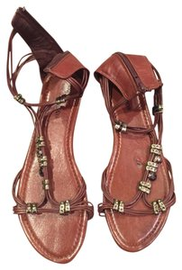 OneOone Grecian Strappy Beaded Zipper brown Sandals