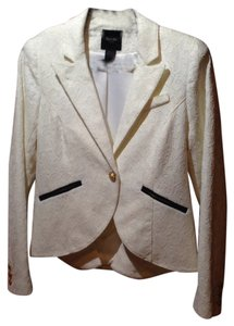 Smythe Cutaway Lace Tailored Single Button Romantic Padded Shoulders Contrast Trim Cuff White Blazer