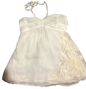 Abercrombie & Fitch Halter Babydoll Cream Embellished Chiffon Top Cream, biege