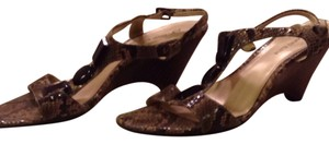 Anne Klein Python tan and greys with brown stones Wedges
