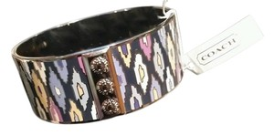 Coach COACH SIGNATURE NEW YORK COLLECTION MULTICOLORED ENAMEL SILVER TONE BANGLE BRACELET NEW WITH TAG