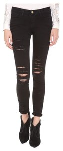 Frame Denim Distressed Skinny Jeans-Dark Rinse