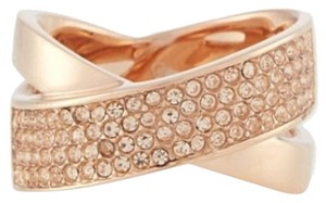 Michael Kors Nwt Michael Kors Brilliance Pave Criss Cross Rose Gold Tone Ring Sz 7