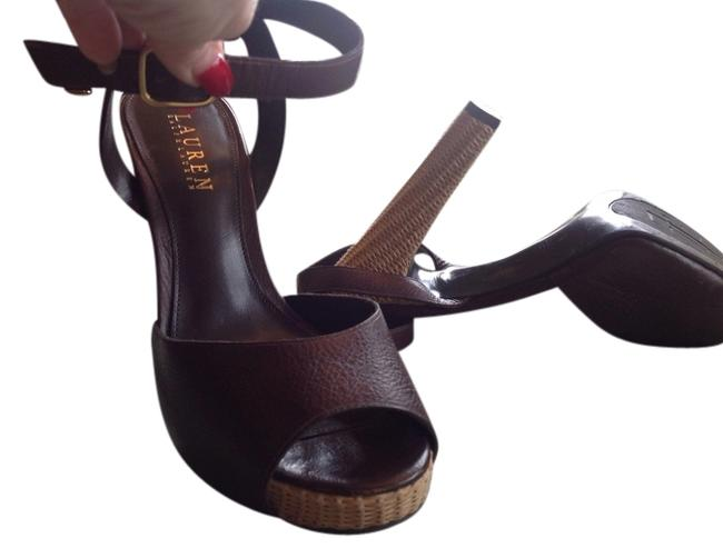 Lauren Ralph Lauren Brown 5 1/2 Heel Hardly Any Sign Of Wear Straw Weave Hill and On Platforms Size US 7.5 Lauren Ralph Lauren Brown 5 1/2 Heel Hardly Any Sign Of Wear Straw Weave Hill and On Platforms Size US 7.5 Image 1