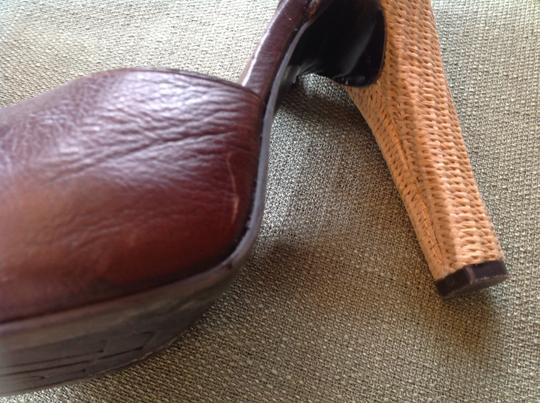 Lauren Ralph Lauren 5 1/2 Heel Hardly Any Sign Of Wear Straw Weave Hill And On Brown Platforms