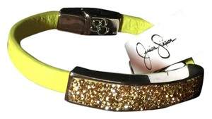 Jessica Simpson silver harware, yellow green leather strap, amber/brown crystals
