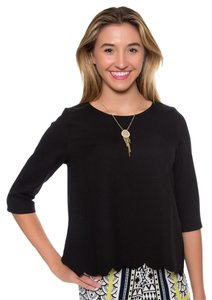 Everly Scalloped Flowy Party Top Black