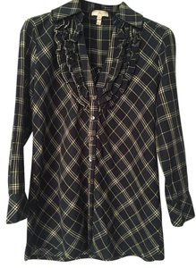 Joie Button Down Shirt Blue & Green Plaid