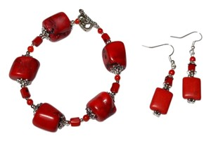 New Bamboo Corral Bracelet Earrings Set Handmade Red Silver Tone J1632