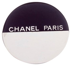 Chanel Chanel Black and Silver Round Pin