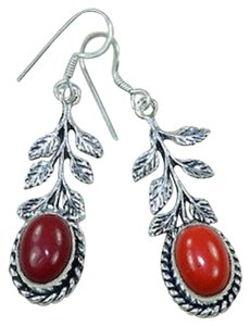 New Bamboo Corral Gemstone Earrings Dangle Red 925 Silver Jewelry J1633