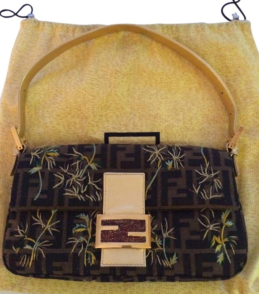 9075a72d9a1c Fendi Brown Gold Green Blue Yellow Cotton Satin Embroidery Baguette ...