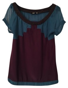 Vena Cava Top Teal & Burgundy