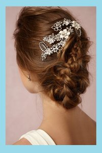 BHLDN Crystal White Silver Blooms En Blanc Comb Hair Accessory