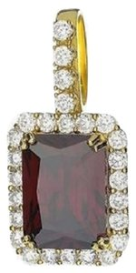Red Garnet Solitaire Pendant Birdman 14k Gold Tone Sterng Silver Lab Diamond