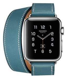 Hermès Apple Hermes Smart Watch 38MM Double Tour in Bleu Jean Leather Band