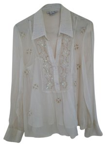 Ice Sheer Tunic Beaded Shell Blouse Top ivory sheer