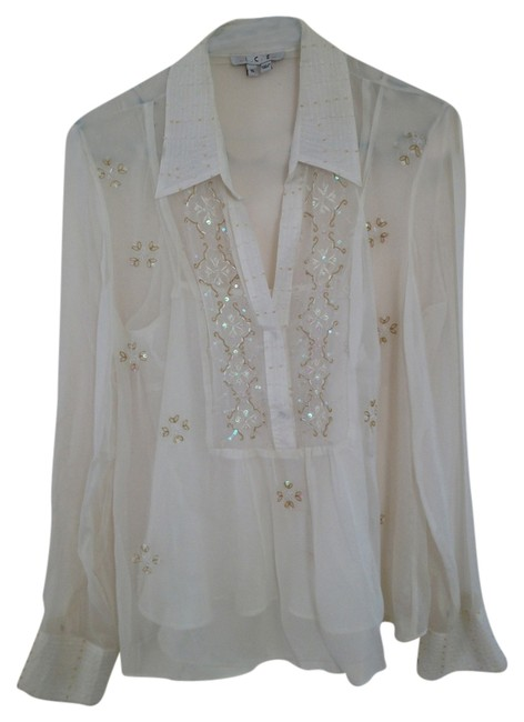 Ice Tunic Beaded Shell Blouse Top ivory sheer