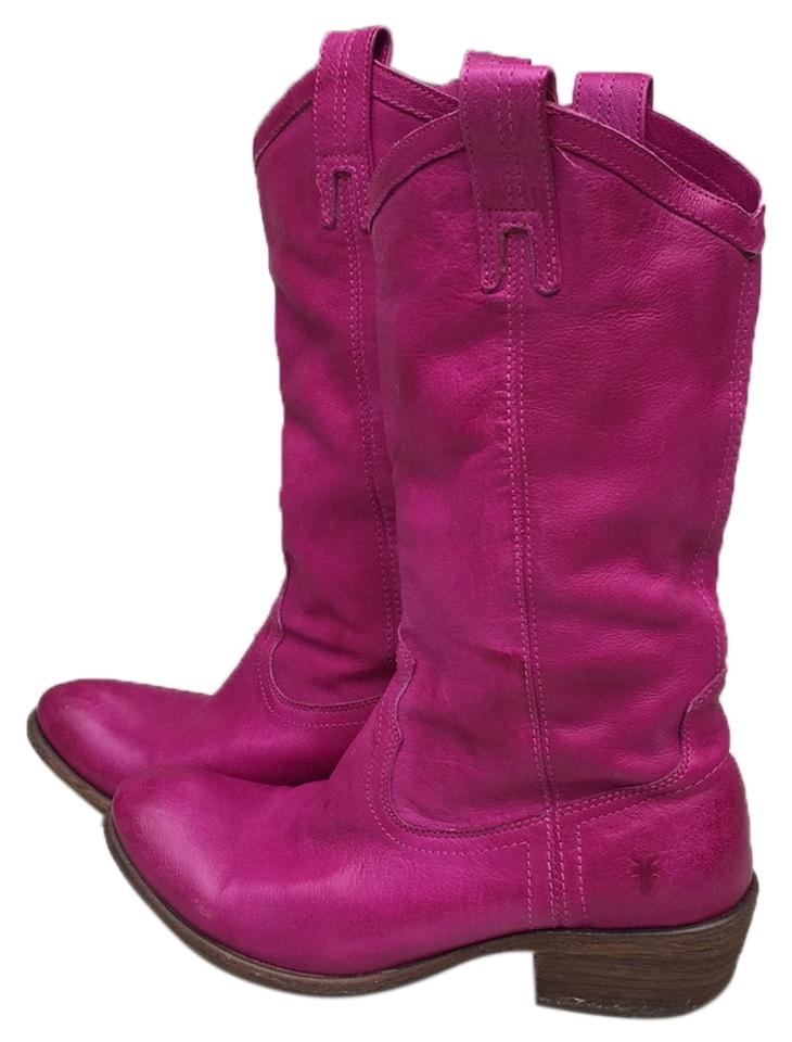 WOMEN Frye quality Pink Mid-calf Leather Boots/Booties quality Frye products 9c8d9d