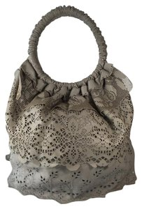 Valentino Laser Cut Lace Lambskin Tote Embroidered Shoulder Bag
