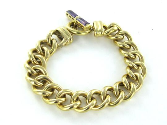 otc 18KT YELLOW GOLD MADE IN ITALY OTC TOGGLE CURB LINK BRACELET PURPLE STONE