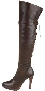 Stuart Weitzman Leather Thigh High Lace-up Lacemeup Knee-high Dark Brown/TMoro Vecchio Boots