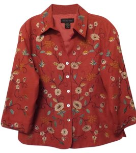SilkLand Silk Embroidered New Large Paprika w/ Multi-Color Jacket