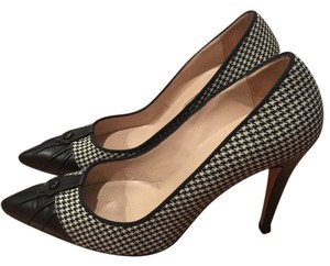 Manolo Blahnik Houndstooth Tweed Black, White Pumps