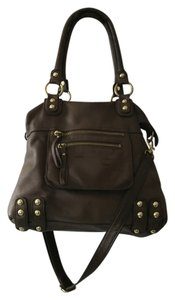 Linea Pelle Leather Crossbody Icon Tote in Dark brown