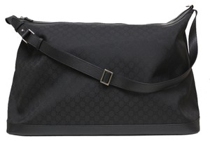 Gucci Luggage Travel Black Nylon with Leather Trim, Silver Toner Hardware, Zip Closure Travel Bag