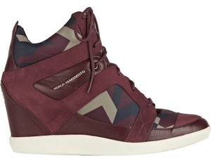Y-3 BURGUNDY LEATHER AND SUEDE WEDGE SNEAKERS Athletic