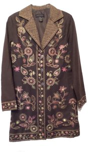 SilkLand Silk Embroidered New Long Duster Brown, Tan, Pink, Green Jacket