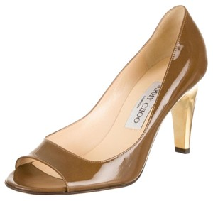 Jimmy Choo Gold Patent Patent Leather Leather Gold Hardware Brown Pumps