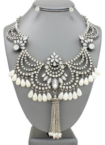 Other Ivory Pearls Drops Majestic Victorian Boho Crystal Accent Antique Silver Statement Necklace and Earrings