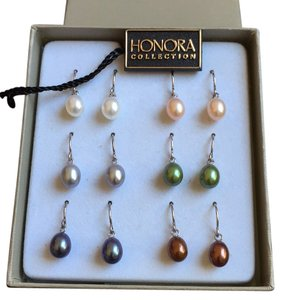 Honora Honora Collection:Fresh multi colored freshwater pearl earring set (6 pairs) in sterling silver.BRAND NEW in gift box