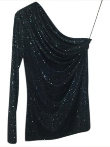 A.B.S. by Allen Schwartz One Sparkle Glitter Holiday Top Black